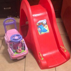 Kids slide and princess car